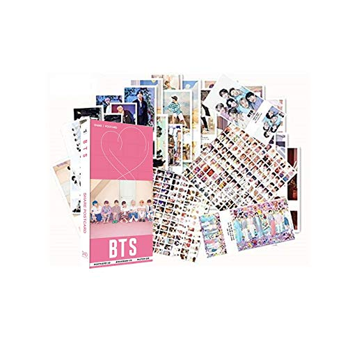 340PCS Bangtan Boys Gift Set Perfect for Army Daughter (30PCS BTS Postcards, 30PCS BTS Small Cards, 280PCS BTS MiniStickers)(Pink)