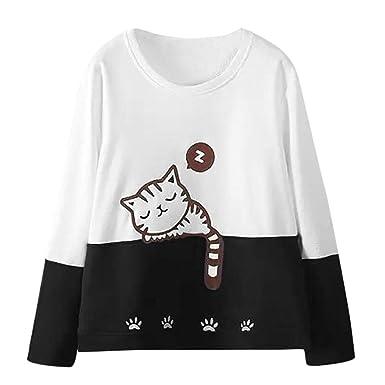 Lonshell Mujer Otoño Manga Larga Gato Bordado Camisa de ...