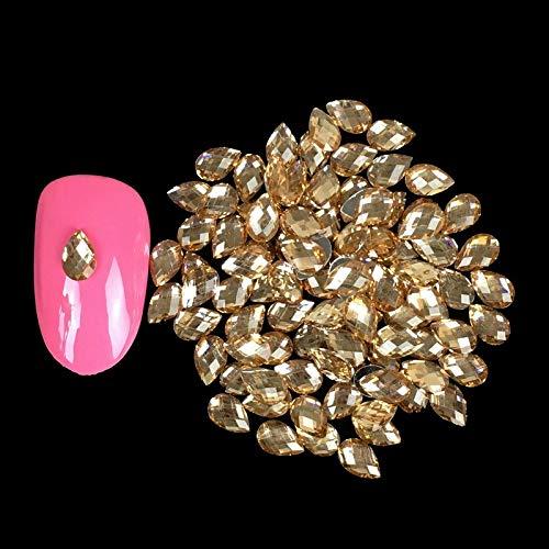 (1000PCS/Bag Champagne Gold Water Drop Non Hotfix Crystal Rhinestones-Nail Art Decoration-Crystal Rhinestone Glue-Crystal Rhinestones for Decorating-Crystal Rhinestones for Nails)