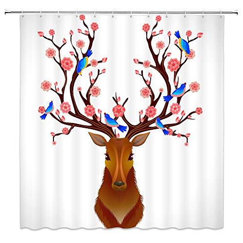 (Feierman Christmas Deer Shower Curtain Beautiful Flower Antlers Bathroom Curtain Machine Washable Mildew Resistant Waterproof with Hooks 70x70Inches)