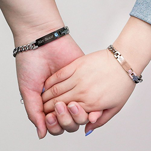GAGAFEEL His Only Her One Couple Cuff Wrist Bracelet Stainless Steel Chain for Lover (Her Beast His Beauty)