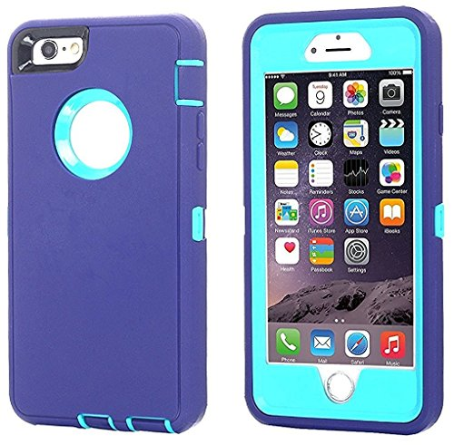 iPhone 6 Case, iPhone 6S Case [Heavy Duty] AICase Built-in Screen Protector Tough 3 in 1 Rugged Shockproof Cover for Apple iPhone 6/6S (Purple/Blue)