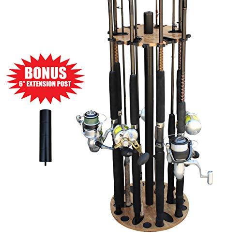 Rush Creek Creations 24 Round Fishing Rod/Pole Storage Floor Rack American Cherry Finish - Features Free 6