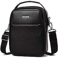 IHayner Men's Genuine Leather messenger Bag (Black)