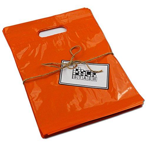 Packstash 16 x 18 x 4 (100 Qty) Orange Retail Merchandise Plastic Shopping Bags - (Large) Premium Tear-Resistant Film, Double Thick Handles, Vibrant Glossy Finish