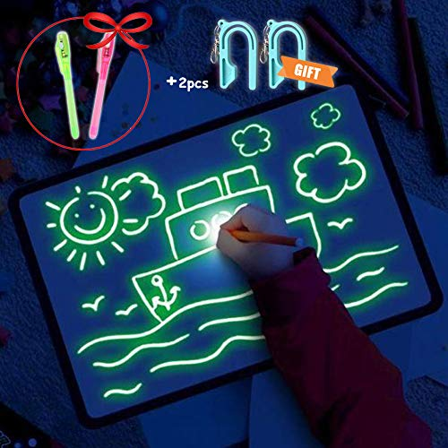 MOONNN Light Drawing Pad Drawing Board Glow in Dark Kids Paint Toy - Fun and Developing Toy (L (11.8
