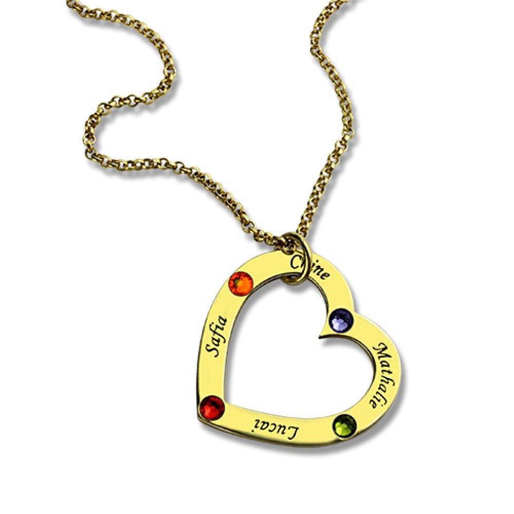 Custom Birthstone /& Name Heart Shaped Necklace Gift Custom Heart Pendant