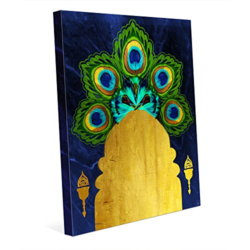 Moroccan Graphic Painting Illustration of Feathers on Blue with Yellow Door Wall Art Print on Canvas ()