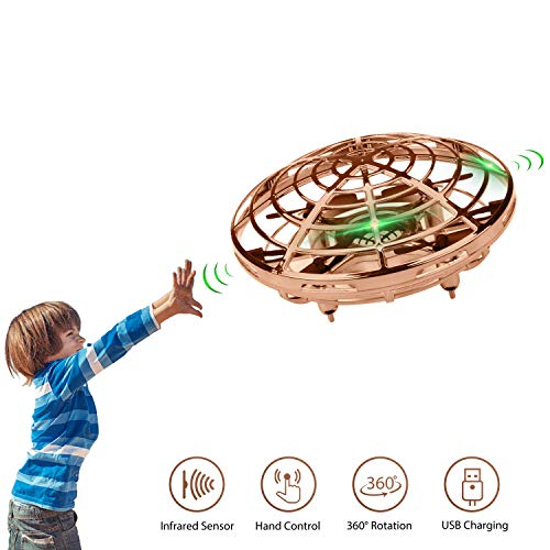 Lumsburry Mini Drone for Kids, Flying UFO Toy Infrared Sensor Induction Hand Control Quadcopter 360 Degree Rotation with Coloring LED Lights (Gold)