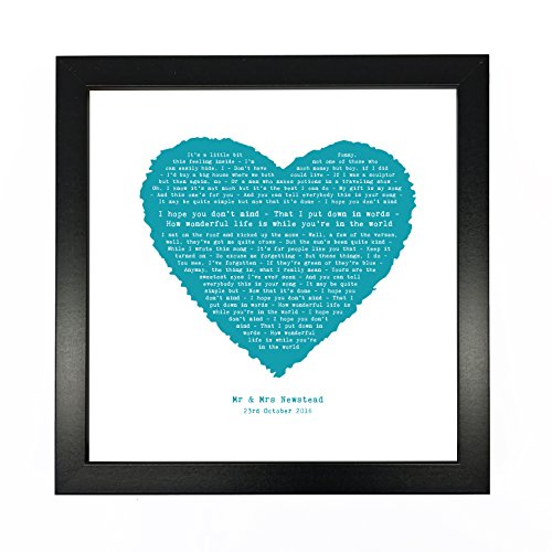(Just Print! Elton John, Your Song Personalised Print Heart - Ideal Wedding Anniversary Personalized Romantic Gift - Fully Framed Box Frame)