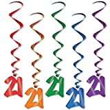 Pack of 30 Assorted Color 21st Birthday Metallic Spiral Hanging Party Decoration Whirls 36'