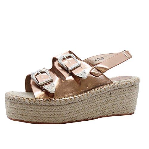 SAUTE STYLES Womens Mid Wedge Buckles Espadrilles Platform Flatform Sandals Size 3-8 Rose Gold 7tSPH