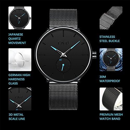 CIVO Relojes para Mujers Impermeable Moda Reloj de Cuero Analógico Negocios Casuales Lujo Clásico Relojes de Pulsera Deportivo Oro Rosa: Amazon.es: Relojes