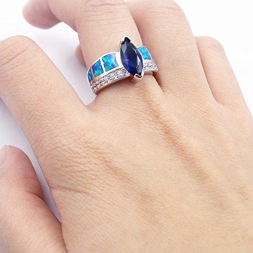 Sinlifu Silver Plated Earrings Fire Blue White Opal Sapphire Tanzanite Topaz Design