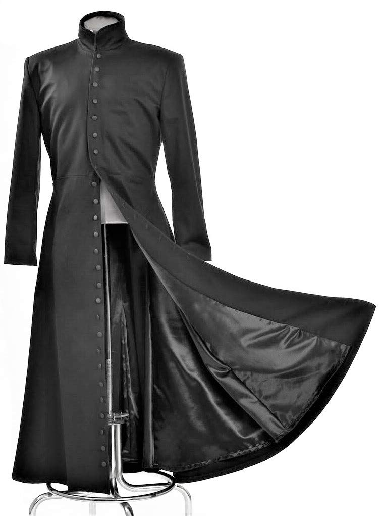 Neo Cosplay Costume Black Long Trench Coat (XXL)