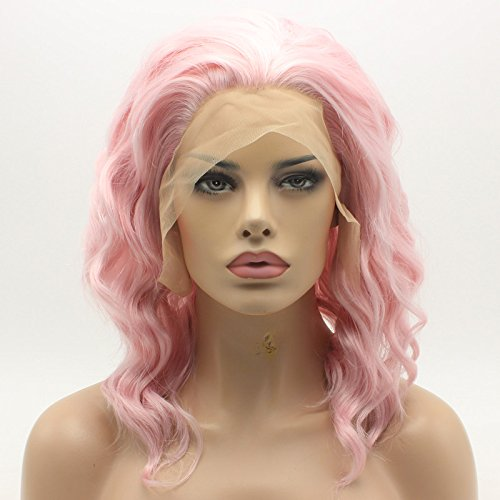 Lace Front Synthetic Wig Medium Length Curly 14inch Pink Wig Hand Tied Realistic Wig