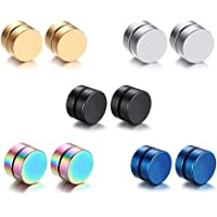 Epoch World 5 Pairs Strong Magnetic Earrings for Man Woman Fake Clip Non Pierced Stud Earrings Hypoallergenic 8mm Diameter