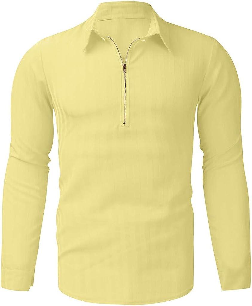 Camiseta de Manga Larga para Hombre Camisa con Cremallera Blusa ...