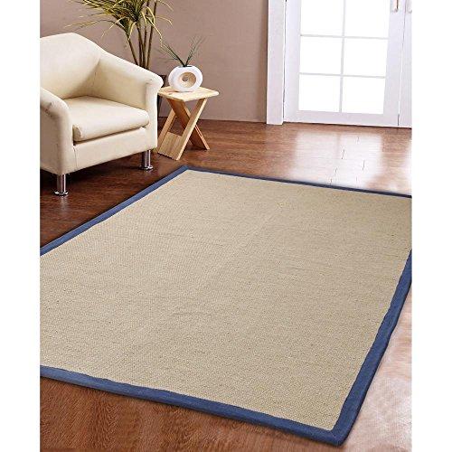 Affinity Home Collection Eco Natural Cotton Border Jute Rug (3' x 5') Aqua