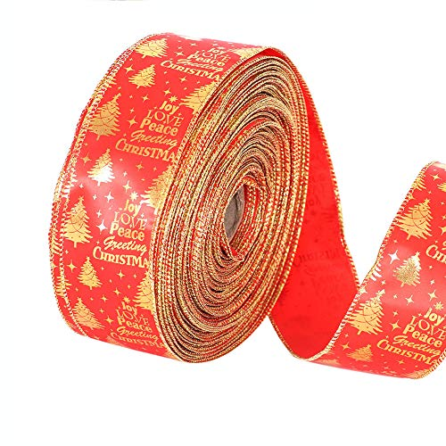 Chenway Merry Christmas 2M Wired Edge Christmas Ribbon Packaging Decoration Craft Gift Present Ornaments (Red)