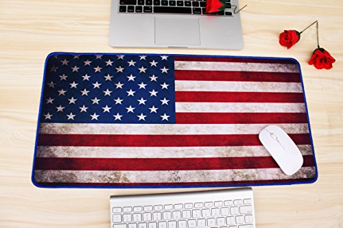 VanFn Mouse Pads, Large Extended Gaming Mouse Pad Mat, Computer Game Mouse Mat, Waterproof Desk Keyboard Mat, Stitched Edges, Ultra Thick 3mm, Anti-slip Rubber Base (11.8 x 23.6 inches, American Flag)