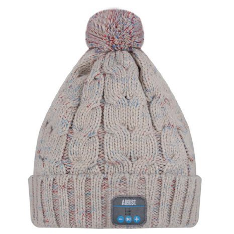 August EPA30  Bluetooth Headphone Cable Knit Hat - Ideal Christmas Gift for Gadget Lovers (Beige) by August