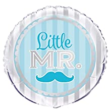 "Unique Party - Globo Foil de Baby Shower con texto""Little Boy"" - 45 cm - Diseño Azul Bigote (53970)"