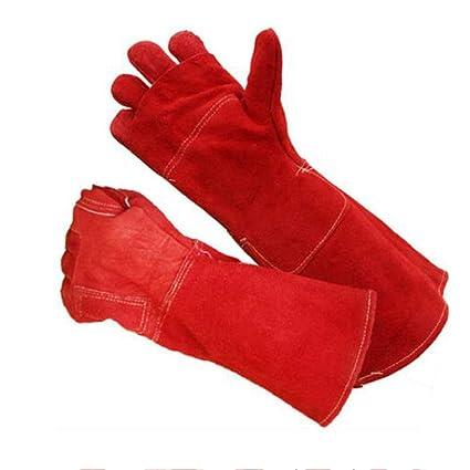 GG-gloves Resistente a Altas temperaturas y Guantes ignífugos de Soldadura y Barbacoa, Cuero