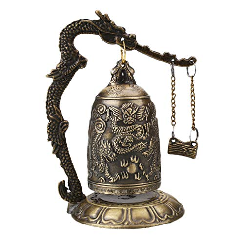 RXIN Brass Carved Dragon Bell Statues Lucky Home Decoration Tools Chinese Buddhist Temple Lotus Clock Figurines