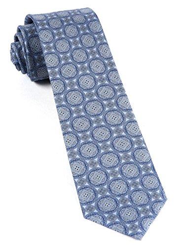 (The Tie Bar 100% Printed Silk Twill Medallion March Sky Blue 2.5 Inch Tie)