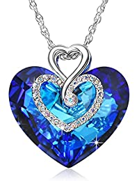 Sliver Necklace for Women with Blue Sapphire Heart of The Ocean Pendant, Birthstone Jewelry Forever Love Gift for Girl, Crystals from Swarovski