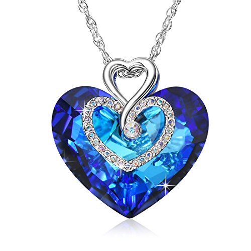 Alantyer Sliver Necklace for Women with Blue Sapphire Heart of The Ocean Pendant, Birthstone Jewelry Forever Love Gift for Girl, Crystals from Swarovski -
