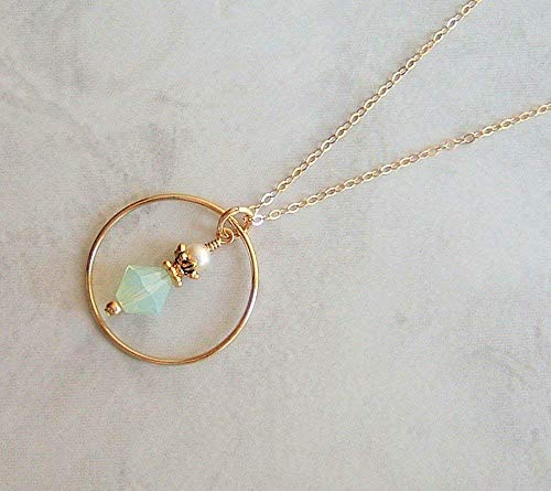 (Chrysolite Crystal Bicone Gold Filled 18 Inch Necklace Gift Idea )