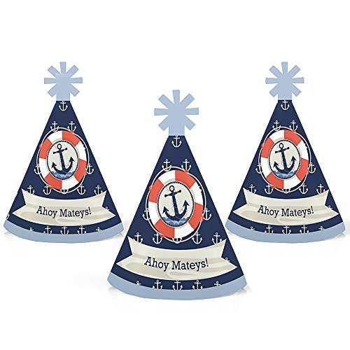 Ahoy - Nautical - Mini Cone Baby Shower or Birthday Party Hats - Small Little Party Hats - Set of 10 ()