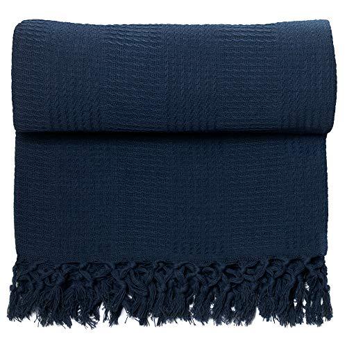 Whisper Organics 100% Organic Cotton Throw Blanket GOTS Certified (60x80, Navy Blue)