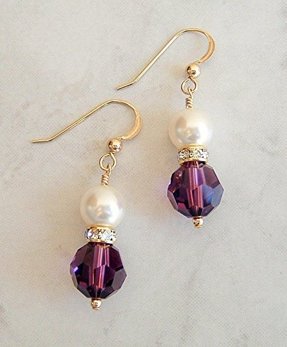 Gorgeous Simulated Amethyst Purple Round Faux Pearl Gold Filled Earrings Made w/Swarovski Crystals Gift ()