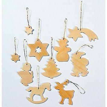 Baumschmuck Holz Blanko Weihnachtsbaumanhänger Zum Basteln Und Bemalen 10 Figuren
