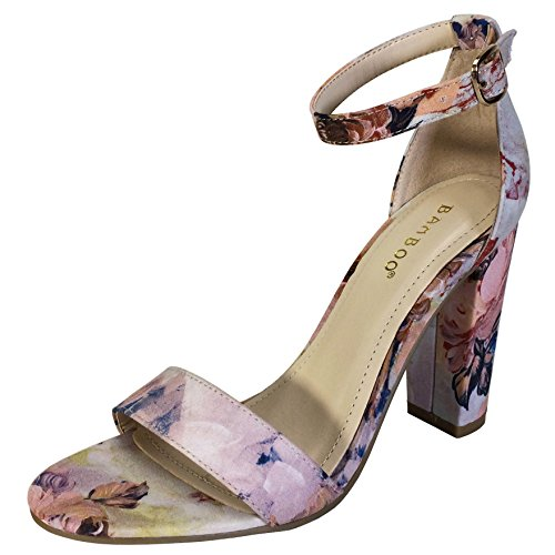 (BAMBOO Women's Single Band Chunky Heel Sandal with Ankle Strap, Blush Floral Print, 9.0 B US)