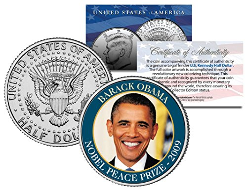 BARACK OBAMA * 2009 NOBEL PEACE PRIZE * Colorized JFK Half Dollar U.S. Coin