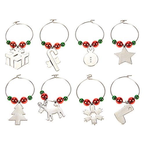 Christmas Wine Glass Charms (8-Pack Wine Glass Charms - Christmas Themed Wine Glass Markers, Zinc Wine Glass Tags, Drink Markers, Wine Favors, Silver)