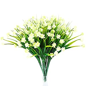 Well Love Artificial Flower 6 Bundles Home Greenery Shrubs Party Bushes Plants Wedding Decor Window Box Home Patio Yard Indoor Garden Light Office Outside UV Resistant Hanging Planter Jasmine White 89