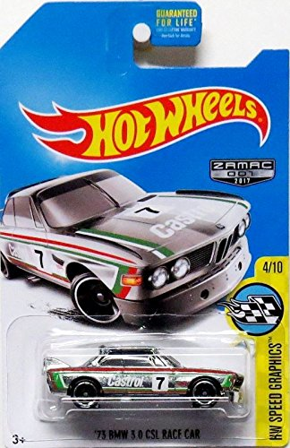 Hot Wheels 2017 HW Speed Graphics '73 BMW 3.0 CSL Race Car Exclusive ZAMAC (Silver Bmw 3 Series)