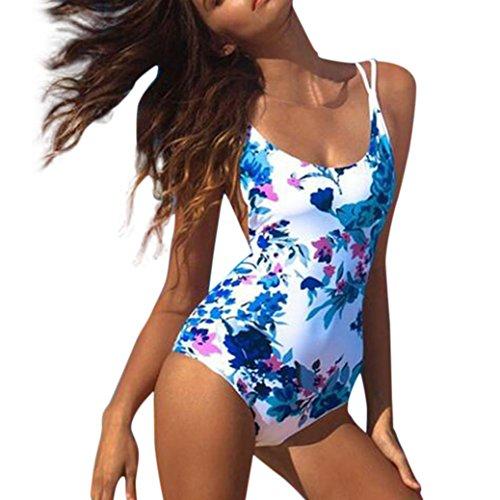 Beautyjourney Bikini Bleu Femme,Femmes Maillot De Bain One-Piece Push Up Monokini Body Bikini Maillot Bikini Grande Taille Femme Haut Bikini Femme