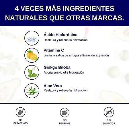 Sérum e Hidratante Facial Para Hombres con Vitamina C y Ácido Hialurónico - 30ml - Con Efecto Antiedad, Antiarrugas y Antiojeras - Para piel seca, con arrugas o líneas de expresión