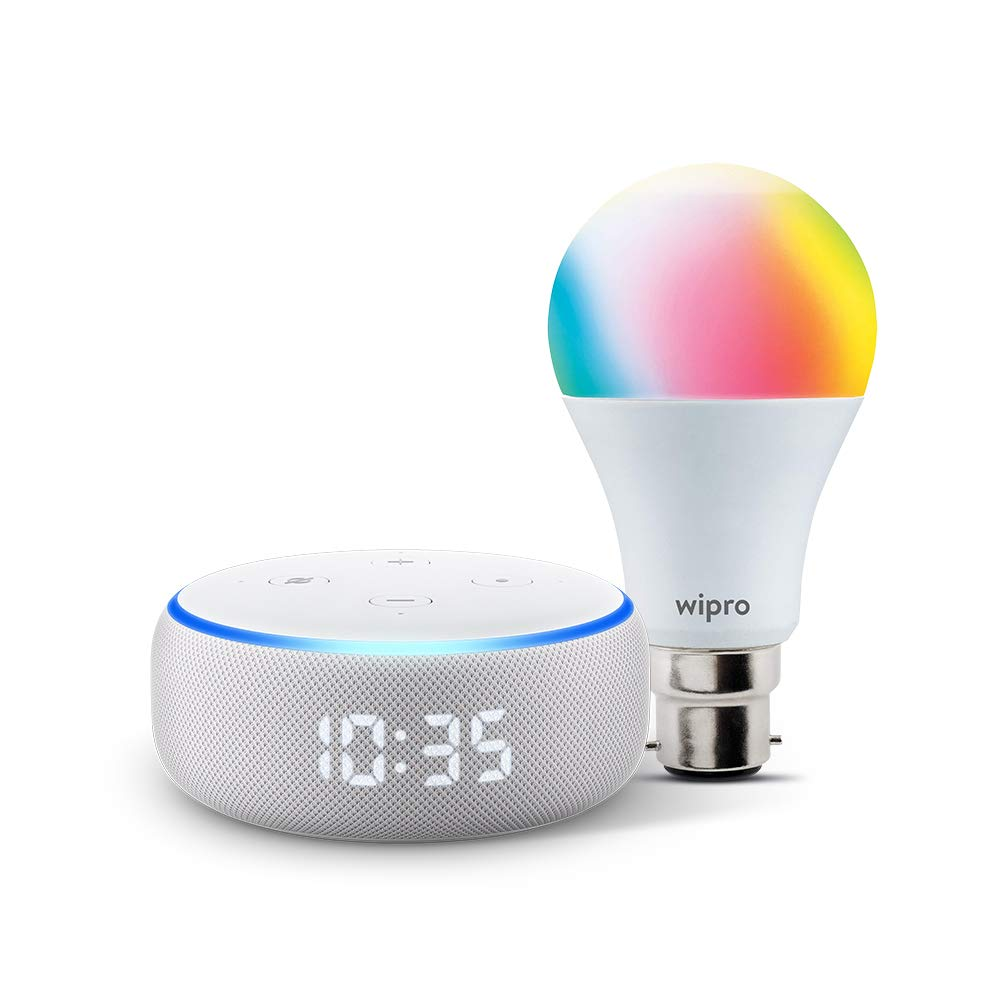 Echo Dot With Clock (3Rd Gen) Bundle With Wipro 9W Smart Color Bulb