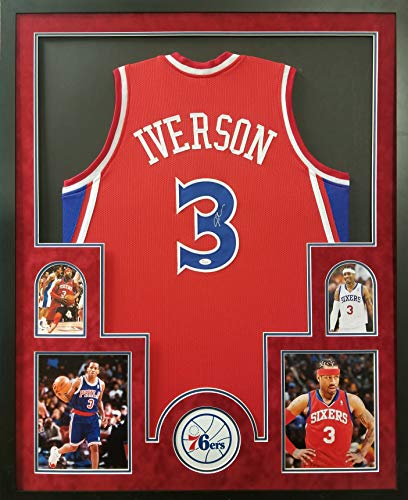 - Allen Iverson Philadelphia 76ers Autograph Signed Custom Framed Jersey Red Suede Matted JSA Witnessed Certified