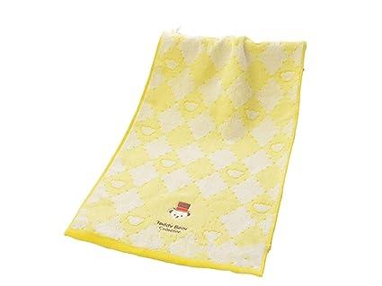 Toalla de algodón bordado para adultos con diseño de dibujos animados sonrientes, toalla de baño