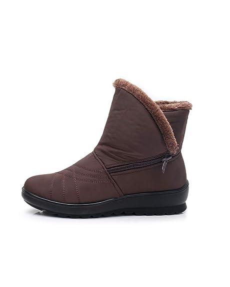 Zapatos Invierno Botas de Nieve para Mujer Hombres Botines Moda Calentar Forrado Botas Tacon Zapatillas Planas Impermeable: Amazon.es: Zapatos y ...