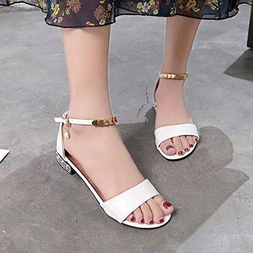 Coinciden Damas Romanas Todo Esbelto de con Blanco Dientes Mujer de Bajo Zapatos 39 Sandalias Las Femeninas con Tacón 8zwgnv