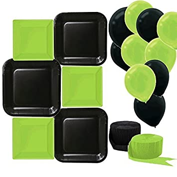 Black Square Plates Large 9 Inch (16 Count) Green Square Plates  sc 1 st  Amazon.com & Amazon.com : Black Square Plates Large 9 Inch (16 Count) Green ...